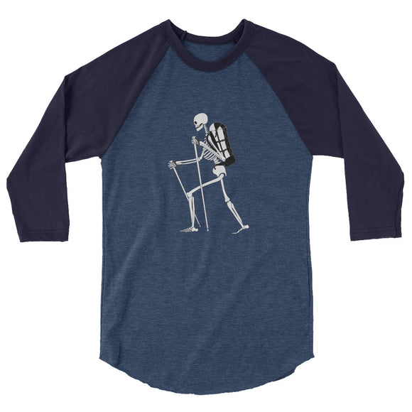El Senderista (Hiker) Skeleton Women's 3/4 sleeve raglan shirt