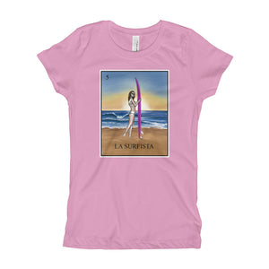 La Surfista girls pink t-shirt loteria surfer girl by pilar grother