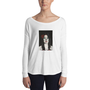 Catrina Dia de los Muertos (Day of the Dead) Women's white long sleeve by Pilar Grother