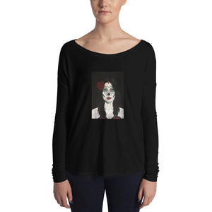 Catrina Dia de los Muertos (Day of the Dead) Women's black long sleeve by Pilar Grother