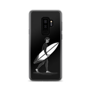 Black and White Samsung Galaxy phone case El Surfista (Surfer) Loteria Day of the Dead by Pilar Grother