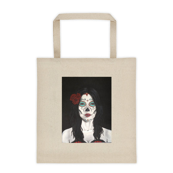 Catrina Dia de los Muertos (Day of the Dead) cotton canvas 12oz tote bag by Pilar Grother