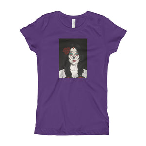 Catrina Dia de los Muertos (Day of the Dead) girl's purple t-shirt by Pilar Grother