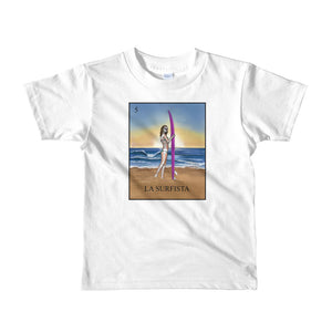 La Surfista kid's white t-shirt loteria surfer girl by pilar grother