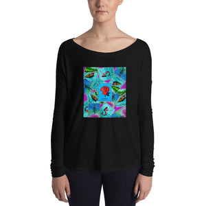 Las Damas Rosa Loteria All-Over Womens Long Sleeve Tee