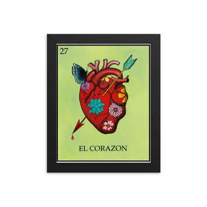El Corazon Loteria Framed photo paper poster