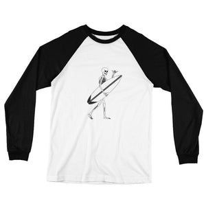 El Surfista Skeleton Shaka Men's Long Sleeve Baseball T-Shirt