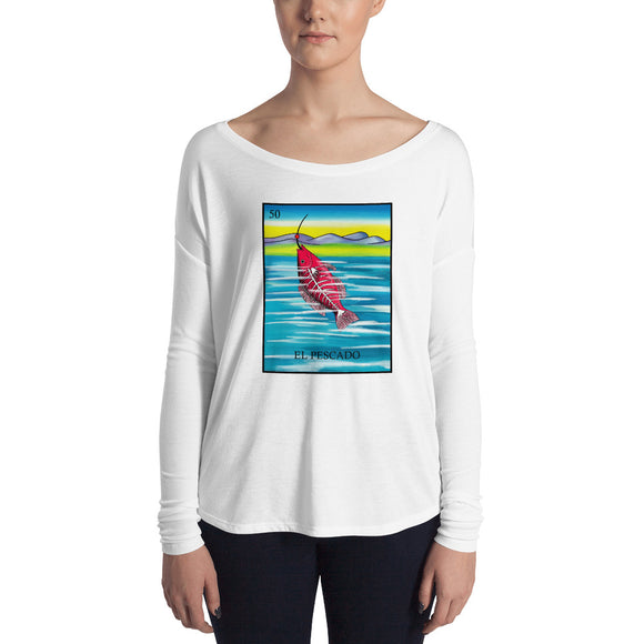 El Pescado Loteria Womens Long Sleeve Tee