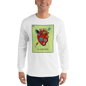 El Corazon Loteria Mens Long Sleeve T-Shirt