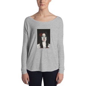 Catrina Dia de los Muertos (Day of the Dead) Women's gray long sleeve by Pilar Grother