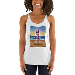 La surfista surfer girl white racerback tank by pilar grother