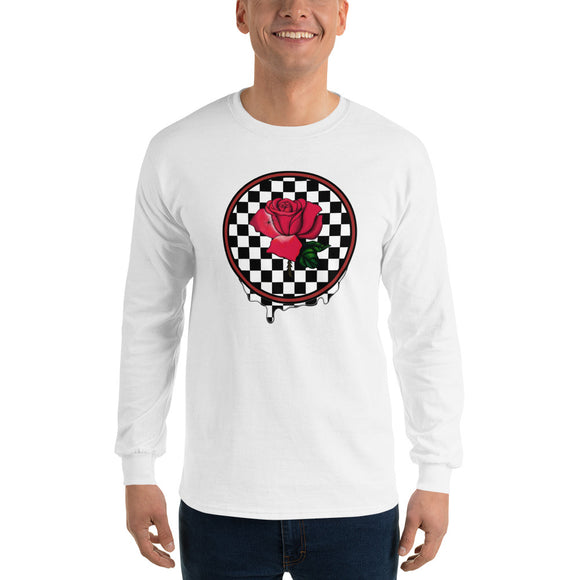 Rosa Dripping Checker Board Men's Long Sleeve T-Shirt