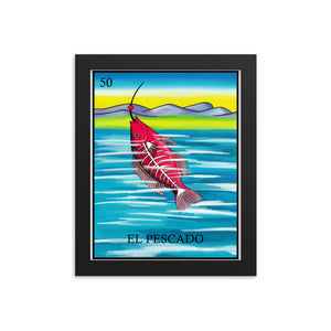 El Pescado Loteria Framed photo paper poster