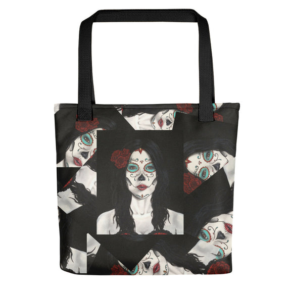 Catrina Dia de los Muertos (Day of the Dead) all-over tote bag by Pilar Grother