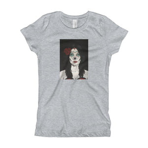 Catrina Dia de los Muertos (Day of the Dead) girl's gray t-shirt by Pilar Grother
