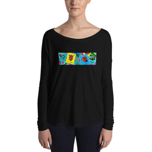 Las Damas Loteria All-Over Crop  Womens Long Sleeve Tee
