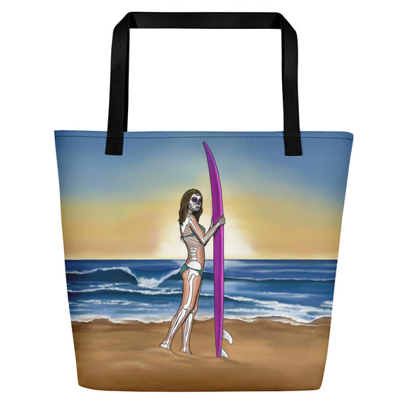 La Surfista surfer girl beach bag by pilar grother