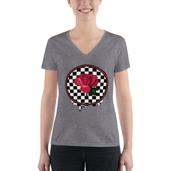 Rosa Dripping Checker Board Women's V-neck Tee