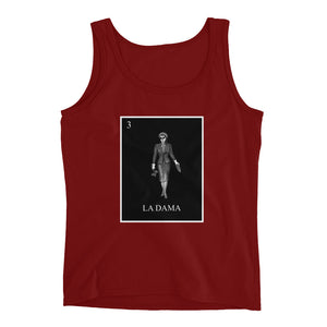 La Dama black & white women's red tank by pilar grother