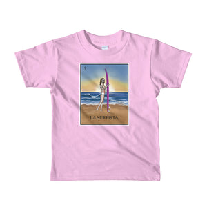 La Surfista kid's pink t-shirt loteria surfer girl by pilar grother