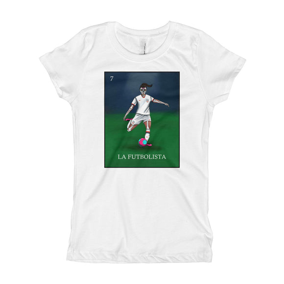 La Futbolista Loteria USA Women's Soccer girl's T-shirt by Pilar Grother