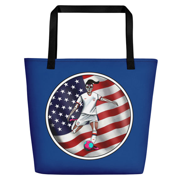 La Futbolista Loteria USA Women's Soccer Beach bag  by Pilar Grother