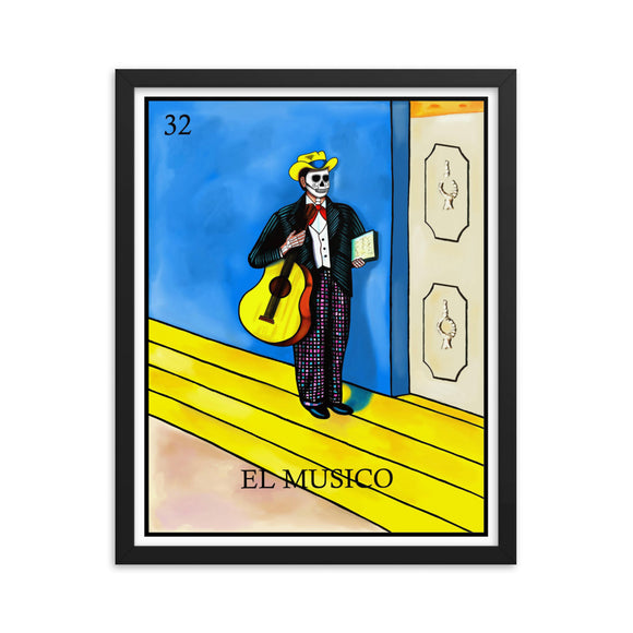 El Musico Loteria Framed photo paper poster