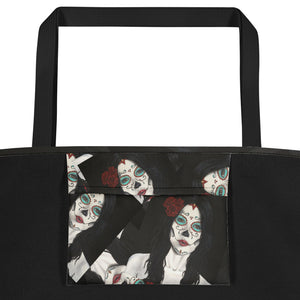 Catrina Dia de los Muertos (Day of the Dead) tote beach bag inside pocket by Pilar Grother
