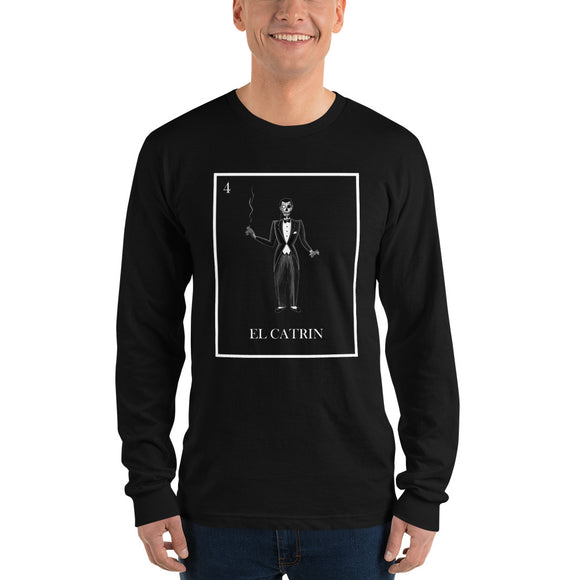 El Catrin Men's Black and white pilar grother loteria long sleeve