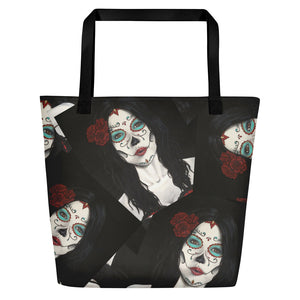 Catrina Dia de los Muertos (Day of the Dead) tote beach bag by Pilar Grother
