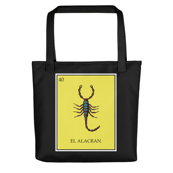 El Alacran (Scorpion) Loteria black tote bag by Pilar Grother