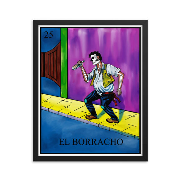 El Borracho Loteria Framed photo paper poster