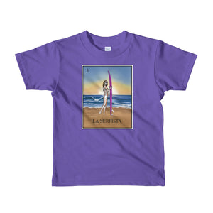 La Surfista kid's purple t-shirt loteria surfer girl by pilar grother