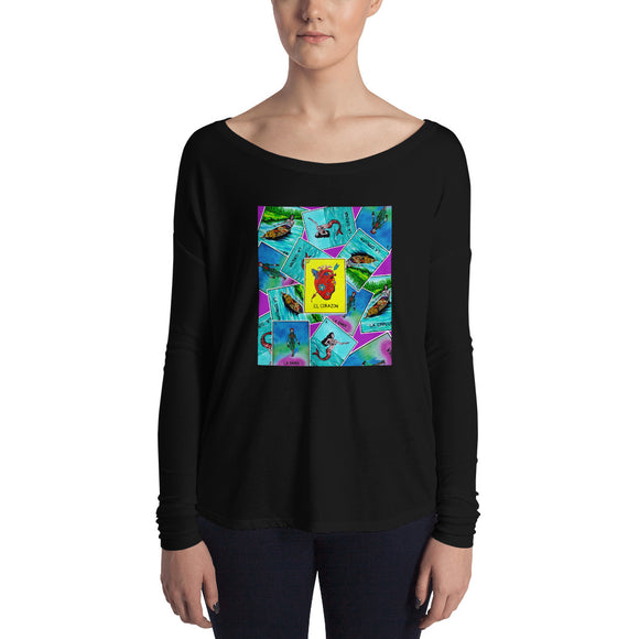 Las Damas Corazon Loteria All-Over Womens Long Sleeve Tee