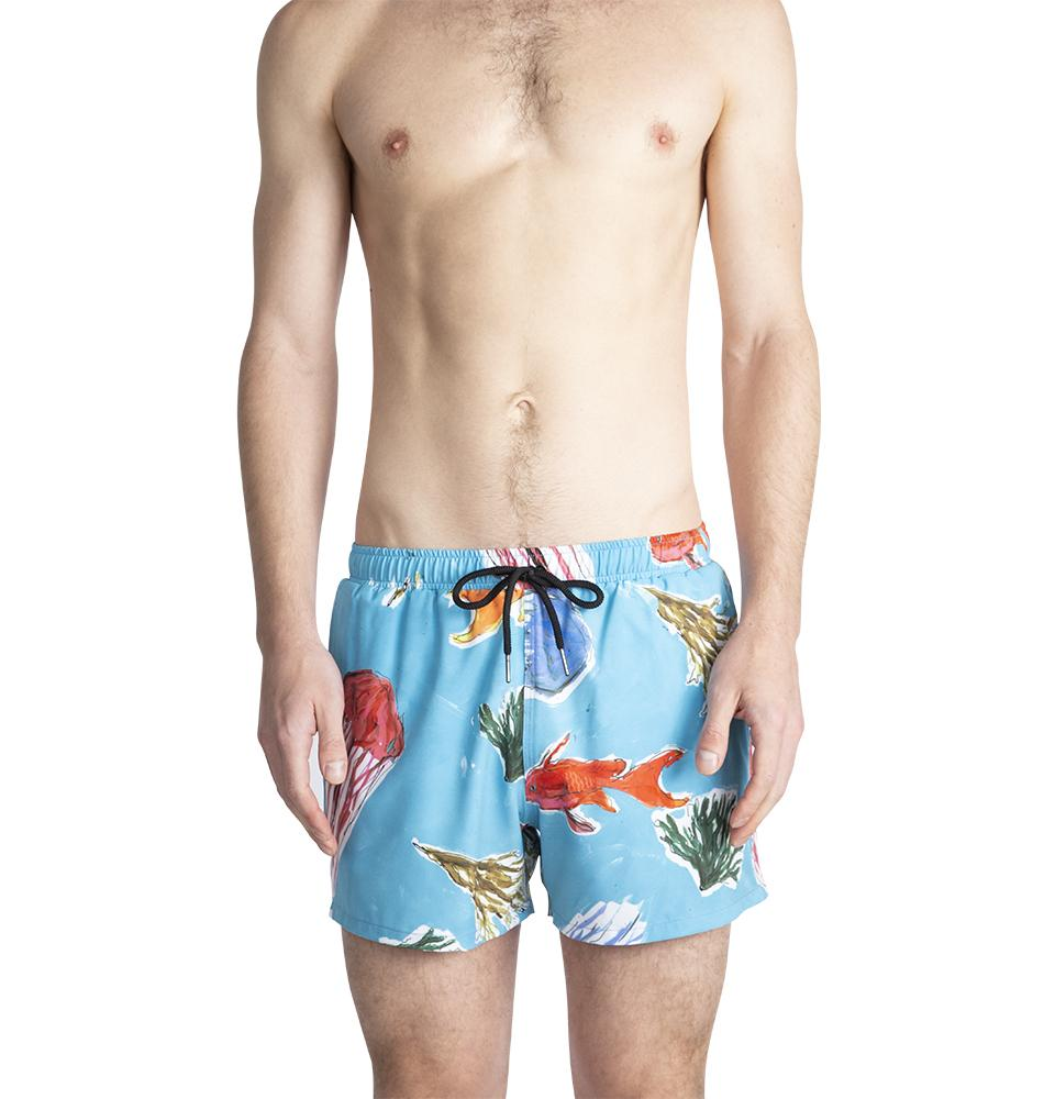 Swim shorts with Blue Jellies print Ali Forney Center Fundraiser Colab