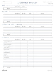 Printable - Monthly Budget Worksheet