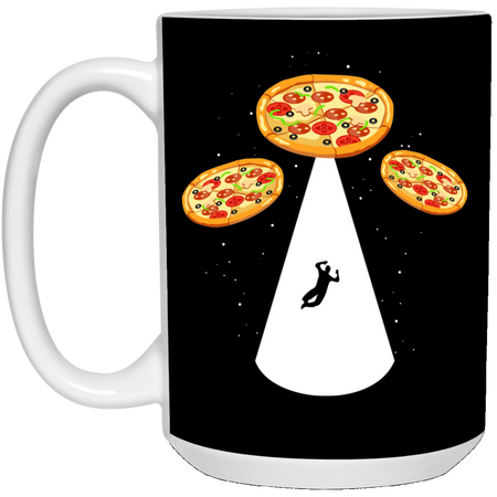 68 - RTP - Caffein Art - Pizza Ufo - Pizza Art - 15 oz. White Mug