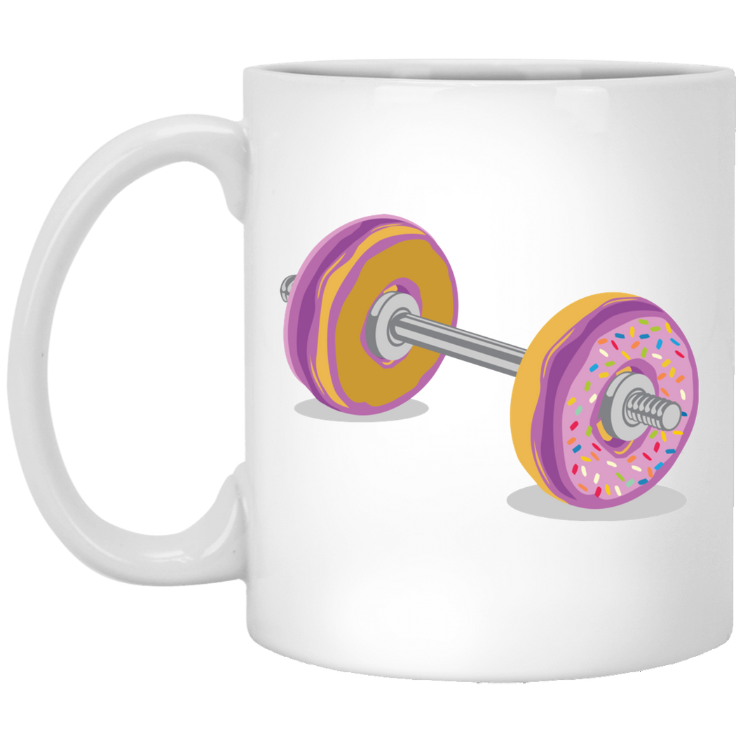 Donut Barbell - Gym Art - 11 oz. White Mug - 29