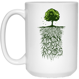 58 - RTP - Caffein Art - Know Your Roots - Vintage Art - 15 oz. White Mug