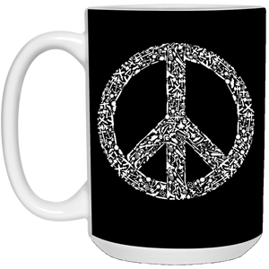 95 - RTP - Caffein Art - War Peace - Weapons Art - 21504 15 oz. White Mug