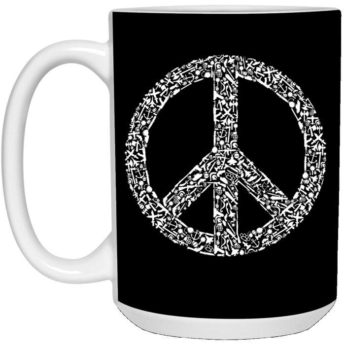 95 - RTP - Caffein Art - War Peace - Weapons Art - 15 oz. White Mug