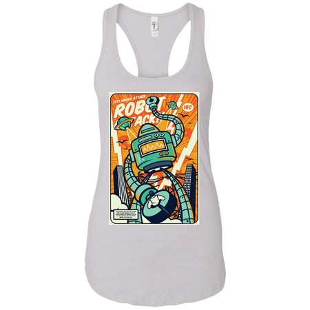Robot Attack - Vintage Art - Women's Racerback Tank Top