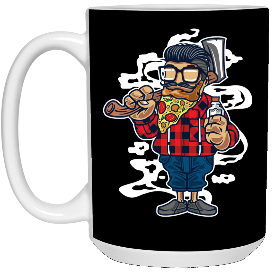 206 - RTP - Roach Graphics - Pizza Beard-01 - 15 oz. White Mug