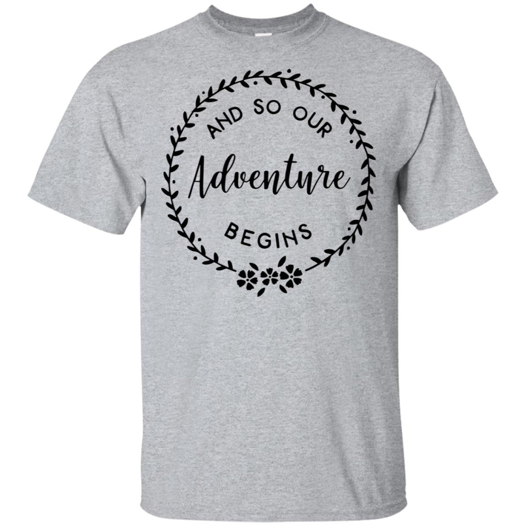 2299B - RTP - Wedding Quotes - And-So-Our-Adventure-Begins - Adult Unisex T-Shirt