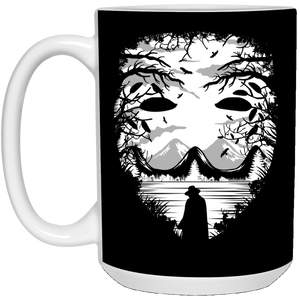 90 - RTP - Caffein Art - The Mask - Horror Art - 21504 15 oz. White Mug
