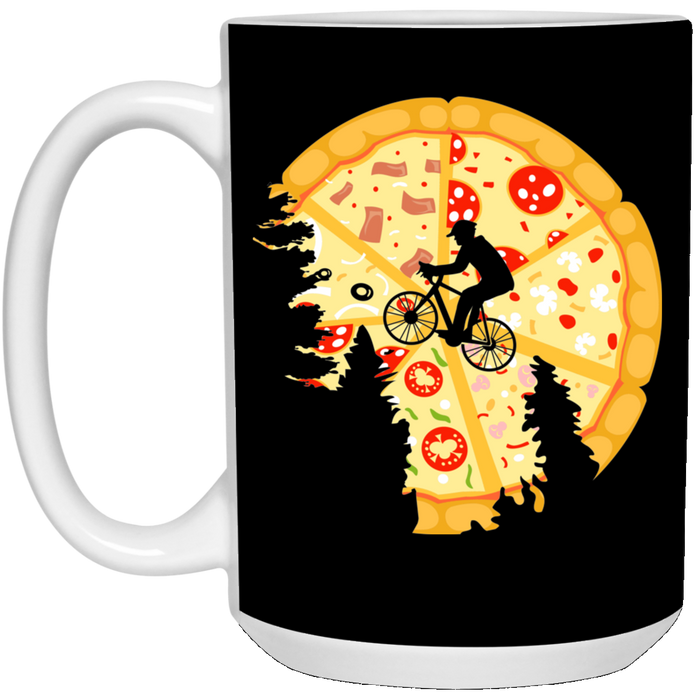 66 - RTP - Caffein Art - Pizza Moon - Pizza Art - 15 oz. White Mug