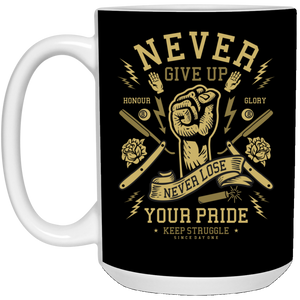 Never Give UP - Barber Art - 15 oz. White Mug - 199