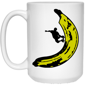 7 - RTP - Caffein Art - Banana Skateboard - Happy Art - 21504 15 oz. White Mug