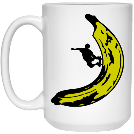 7 - RTP - Caffein Art - Banana Skateboard - Happy Art - 15 oz. White Mug