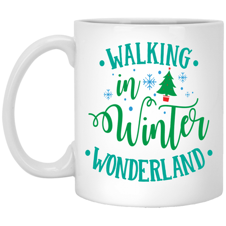 Walking In Winter Wonderland - Happy Holidays - 11 oz. White Mug - 2037